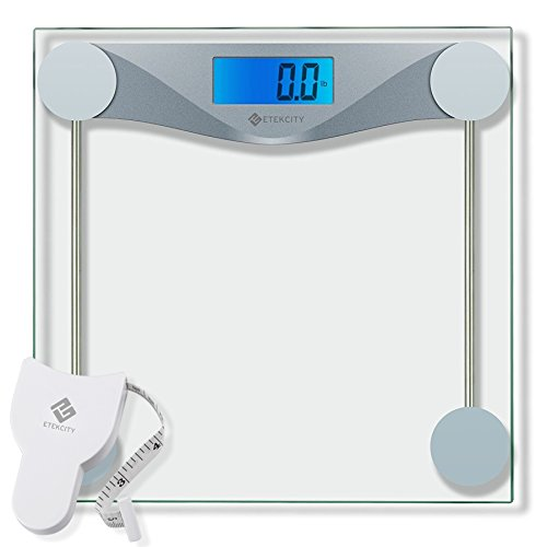 Etekcity Digital Body Weight Bathroom Scale With Body Tape Measure  Tempered Glass  400 Pounds Scales