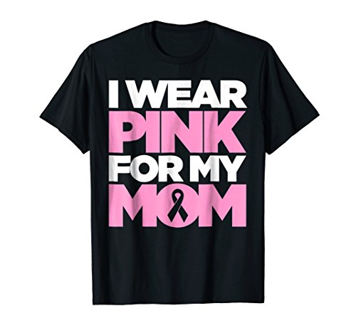 - Mens Breast Cancer T-Shirt for Kids I wear pink for my mom ribbon Medium Black