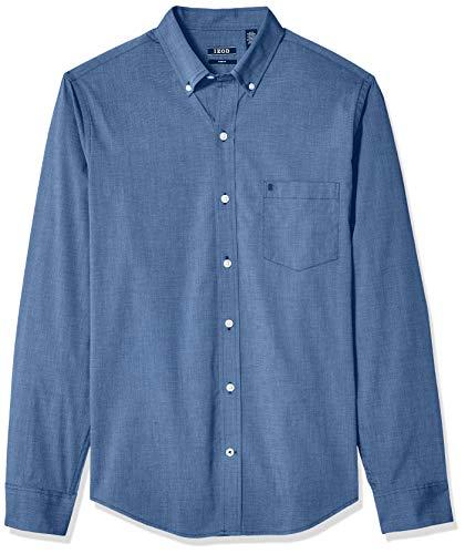 IZOD Men's Slim Button Down Long Sleeve Stretch Performance Solid Shirt, Estate Blue, X-Large ()
