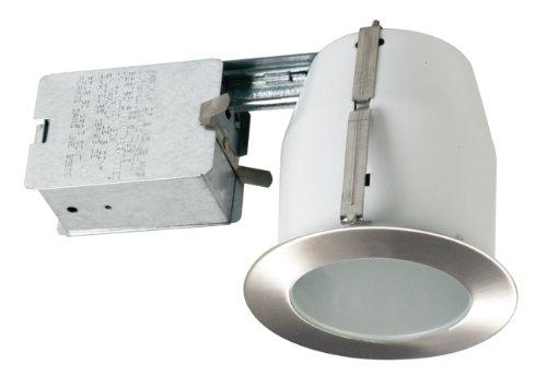 White Satin Nickel Compact - Eurofase TH-P08-0N Shower Flat Glass PAR20 Housing/Trim Kit, Satin Nickel
