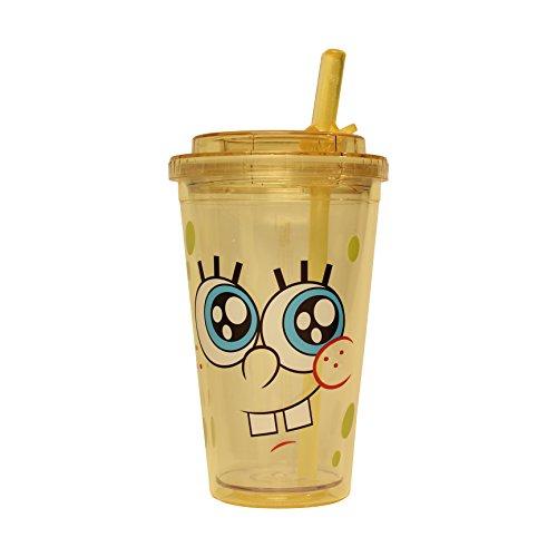 Silver Buffalo SG1784 Nickelodeon SpongeBob Big Eyes Plastic Flip Straw Cold Cup, (Spongebob Cold)