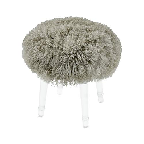 (Best in Show Light Grey Genuine Fur Mohair Stool with Clear Acrylic)