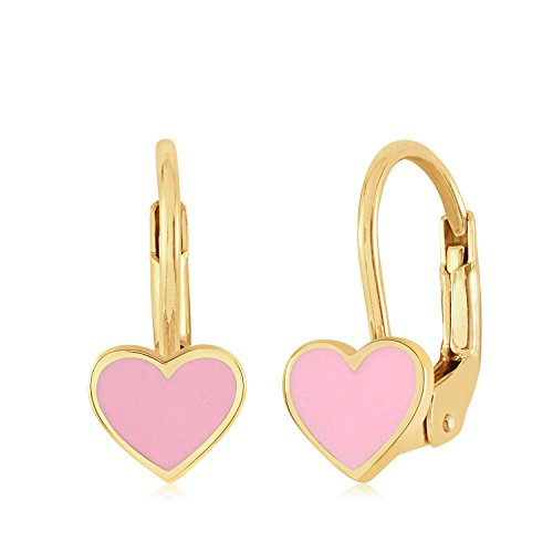 UNICORNJ 14K Yellow Gold Small Heart Leverback Earrings with Light Pink Enamel Italy by Unicornj
