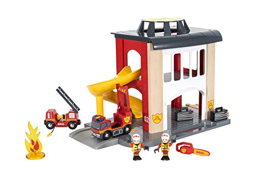 (BRIO World - 33833 Central Fire Station | 12 Piece Toy for Kids with Fire Truck and Accessories for Kids Ages 3 and Up )