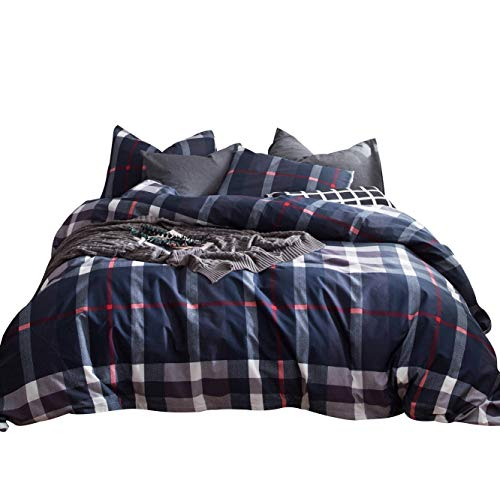 (SUSYBAO 3 Piece Duvet Cover Set King Size 100% Cotton Navy Tartan Plaid Bedding Set 1 Geometric Duvet Cover with Zipper Ties 2 Pillowcases Luxury Quality Soft Breathable Durable Lightweight)