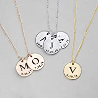 Initial Disc Necklace Coin Graduation Gift Children Gift Personalized Initial Jewelry New Baby - LCN-ID-L