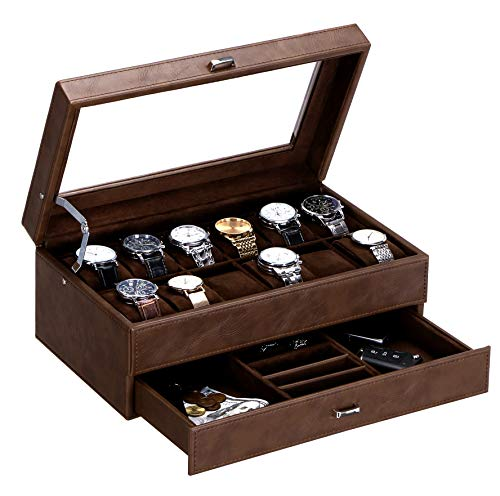 BEWISHOME Watch Box for Men Luxury Watch Organizer Faux Leather Watch Case with Jewelry Drawer, Real Glass Top , Metal Hinge, Brown SSH12Z
