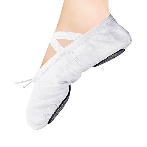 WELOVE Ballet Slipper Shoes Pointe Canvas Split Sole Practice Ballet Dancing Gymnastics Shoes Ballet Flat Slipper Yoga Shoes White US11 M (Slippers White Ballerina Kids)