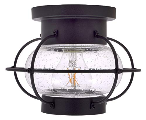 SYLVANIA General Lighting Sylvania 60115 Essex Cage Light, LED, Semi-Flush Mount, Dimmable Bulb Included Vintage Fixture, Antique Black (Light Fixtures Outdoor Coastal)
