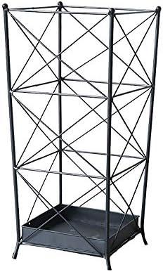 傘立て 傘たて アンブレラスタンド クリエイティブホーム傘ホテルロビーフロア傘ストレージをシンプルアイアン傘スタンドバレルフラワースタンドラックスタンド 風通し良く 安定 倒れない 折り畳み傘兼用 玄関収納 傘収納 (Color : Black, Size : 25x25x55cm)