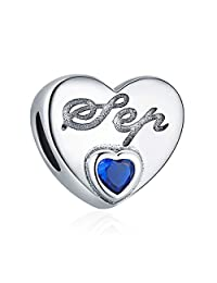 ChicSilver Heart Love Charms 12 Months Heart Birthstone Charms Beads 925 Sterling Silver Charms for Bracelets, Birthday Gift