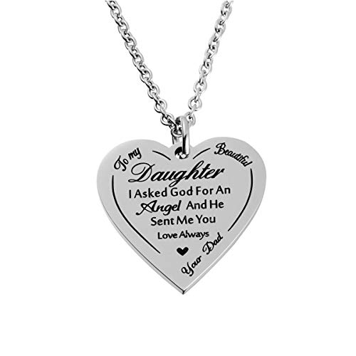 Haoflower to My Beautiful Daughter Necklace from Mom Dad I Asked God for an Angel and He Sent Me You Perfect Mother Daughter Gift for Mother's Day (Dad to (Best God Moms)