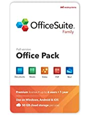 OfficeSuite Family Compatible with Microsoft® Office Word® Excel® & PowerPoint® and Adobe® PDF - 1 Year License for 1 Windows & 2 Mobile Devices / 6 Users