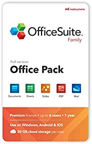 OfficeSuite Family Compatible with Microsoft® Office Word® Excel® & PowerPoint® and Adobe® PDF - 1 Year Li