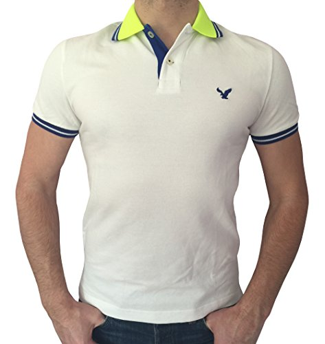 American Eagle Outfitters Men's Classic Fit Mesh Tipped Polo T-shirt (Large, White/Lime/Blue)