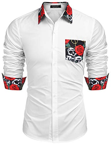 COOFANDY Men's Fashion Floral Shirt Long Sleeve Slim Fit Casual Button Down Printed Dress Shirt (Red Shirts Flower)