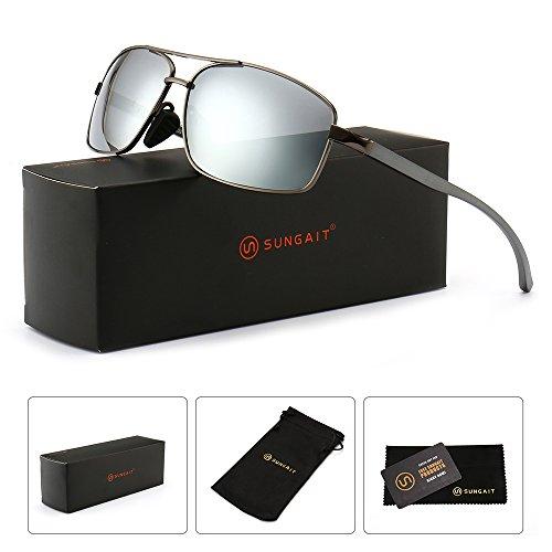 SUNGAIT Ultra Lightweight Rectangular Polarized Sunglasses 100% UV protection (Gunmetal Frame Sliver Mirror Lens, 62) Metal Frame New-2458 QKSY by SUNGAIT