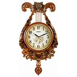Harp design wall clock furniture grandfather musical style for home, kitchen, living area, business, office or gift