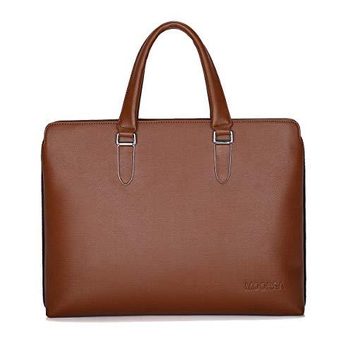 Business Briefcase Bag, Expandable Leather Briefcase for Men, 15.6 Inch Laptop Shoulder Messenger Bag (Brown)