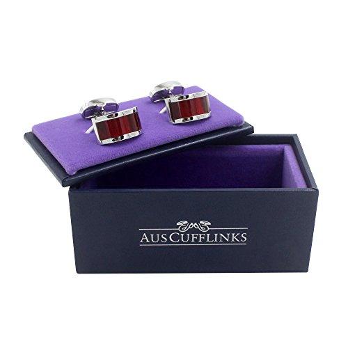 Ruby Stone Red Cufflinks | Wedding Anniversary Gift | Cuff Links Gift for Men | 5 Yr Warranty by AUSCUFFLINKS (Image #3)
