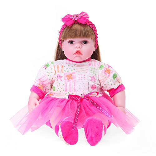 Soft Body Baby Doll, Lifelike Realistic Reborn Babies Dolls Toddler Kids Gifts Toys,(22 inch, Rose Girl) (Jz Rose)