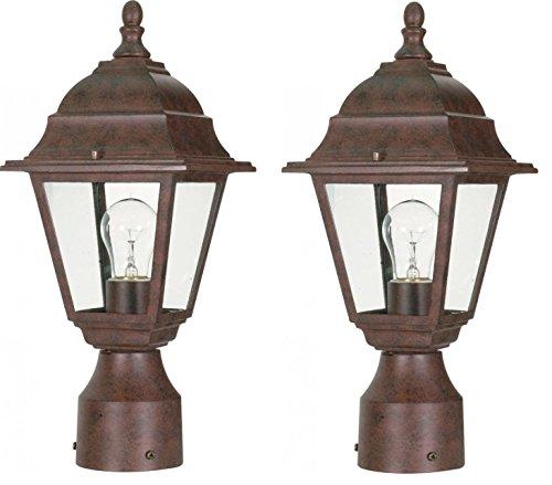 One Light Post Lantern Antique Bronze Set of 2 (Antique Lamp Post)
