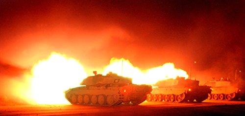 Firing Battle Tank (Home Comforts Three Challenger 2 main battle tanks firing their 120mm guns during a night firing exercise by the R.)