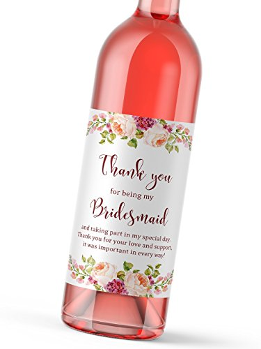 Set of 8 - Thank You For Being My Bridesmaid, Maid of Honor, Matron of Honor Gift Wedding Gifts Wine Bottle Labels - Bridesmaid Thank, Bridal Party Bubbly Tote Gift Ideas, Weatherproof, A900-THANK-8 -