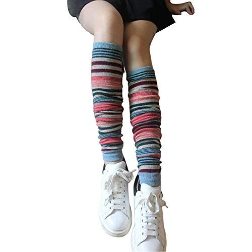 Clenp Been Warmers Voor Vrouwen, 1 Paar Winter Vrouwen Mode Streep Breien Been Warmers Boot Hoge Knie Sokken