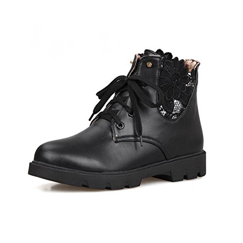 Closed Toe Solid Low Women's up Pu Allhqfashion Lace Boots Heels Round Black 47qZo