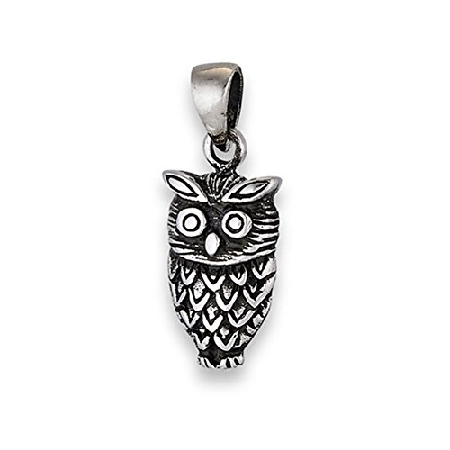 Oxidized Owl - Oxidized Owl Pendant .925 Sterling Silver Woodland Feathers Animal Bird Charm Jewelry Making Supply Pendant Bracelet DIY Crafting by Wholesale Charms