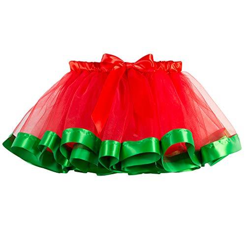 Sunhusing Children Rainbow Skirt Bowknot Ribbon Applique Tutu Skirt Christmas Party Toddler Baby Costume Skirt ()