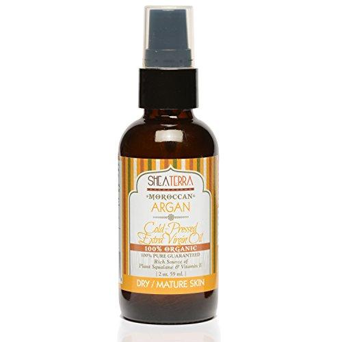 Shea Terra Organics Moroccan Argan Cold Pressed Extra Virgin Oil | Hair Repair, Anti-Aging, Vitamin E Oil | Dry/Mature Skin Types - 2 oz