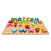 Motrent 26 Letters Wooden Lowercase Alphabet Puzzle Jigsaw Board Toy for Kids Toddlers 1 2 3 Year Olds Boy and Girl Gifts