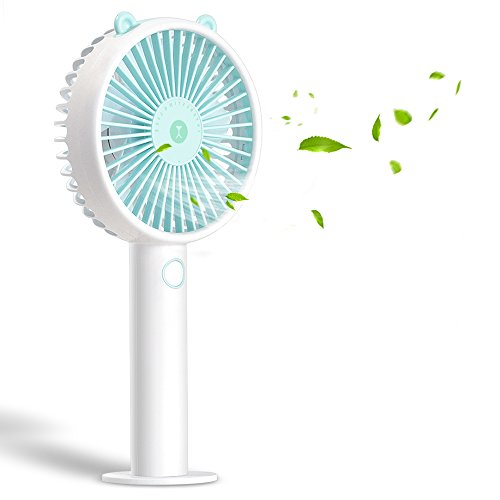 Desk USB Fan-Super Quiet Mini Battery Personal Fans with 2000mA Power Bank,3 Setting, Strong Wind Handheld Portable Small Fan for Baby,Travel,Camping and Outdoor Activities(Blue)