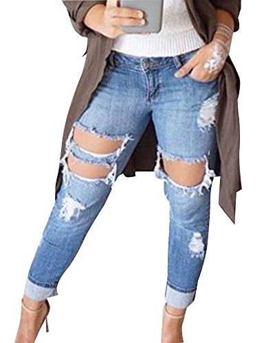 Jeans Bleu Femme Crayon Pants Clair Denim Leggings Pantalons Slim Dchir qTx8wPTt