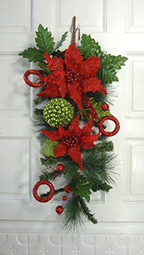 24'' Christmas Poinsettia Teardrop by V-Max Floral Decor (Image #2)