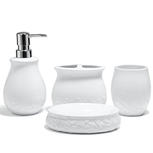 HUIDANG 4 piece White Embossed Leaves Ceramic Soap Dispenser, Toothbrush Holder Soap Dish & Tumbler Bathroom Set