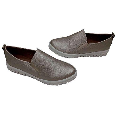 Hengfeng Forma Plana Cuero de Mujeres Zapatos Casuales 6075-48 Dorado
