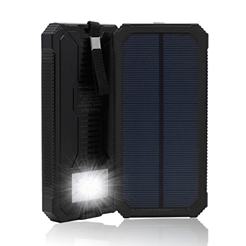 Solar Charger, Solar Power Bank 15000mAh External Backup Battery Pack Dual USB Solar Panel Charger with 2LED Light Carabiner Compass Portable for Emergency Outdoor Camping Travel (Black)