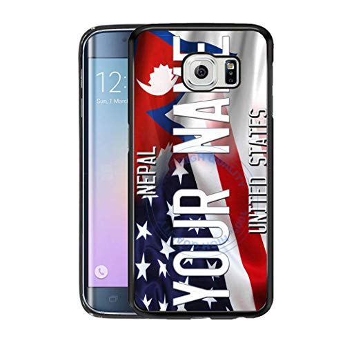 BRGiftShop Personalize Your Own Mixed USA and Nepal Flag Rubber Phone Case For Samsung Galaxy S6 Edge