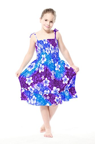 Aloha Fashion Girl Rainbow Floral in Blue and Pink Hawaiian Luau Dress in Various Styles