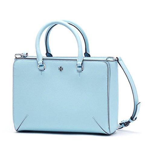 Tory Burch Women's Robinson Small Zip Tote, Riviera Blue, One - Tory Burch Bag Silver