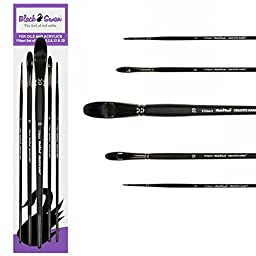 Black Swan Synthetic Red Sable Brush Long Handle Filbert Set of 5