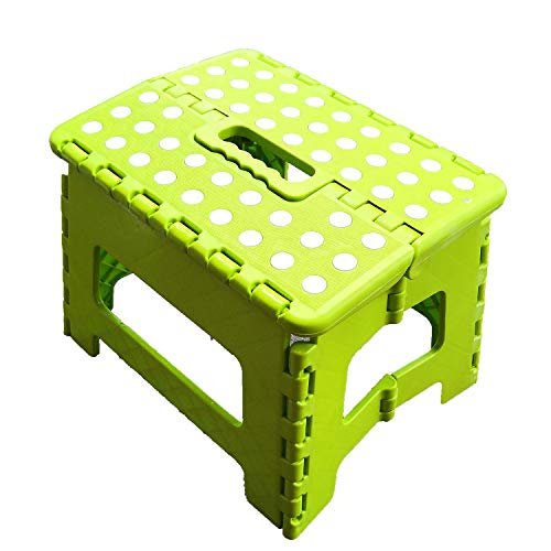 ZLin Folding Step Stool with Handle Lightweight Sturdy and Safe Enough to Support Adults & Kids. Kitchen Garden Bathroom Stepping Stool Anti-Slip 9