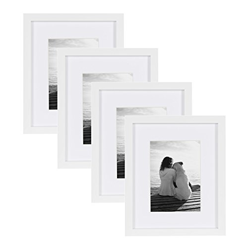 DesignOvation Gallery Picture Frame, 8x10 matted to 5x7, Whi