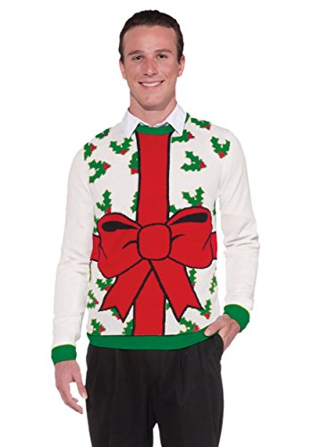 Ugly Christmas Sweater Adult Clothing White Present - Large