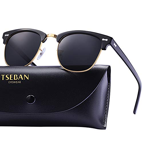 (T.SEBAN Polarized Sunglasses for Women Men Vintage Style 100% UV Protection Lens Acetate Frame)