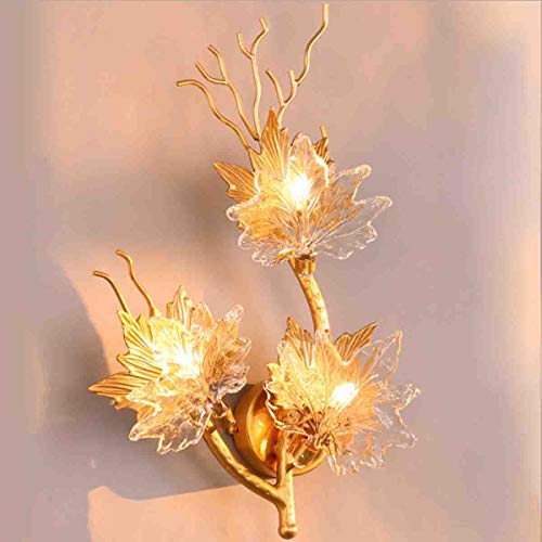 3wb Wall Lights - Jiawei Light Luxury Crystal Wall Lamp, Modern Decorative Wall Lamp, Creative Maple Leaf Design G4 Light Source, Suitable for Bedroom Aisle Living Room Bedside,3WB