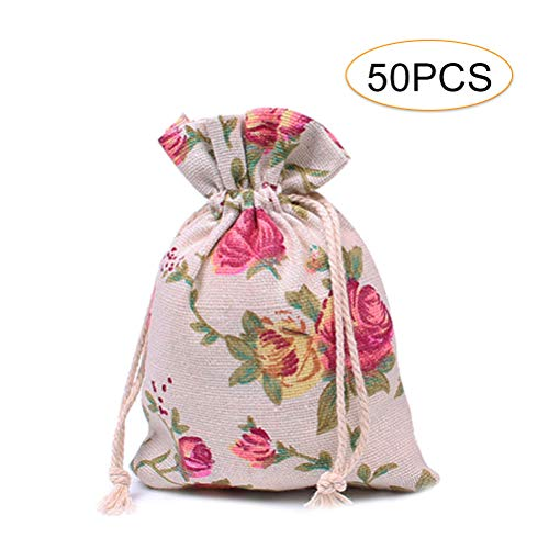 - 50 Pcs Roses Drawstring Bags, Cooyeah Floral Pattern Double Drawstring Linen Reusable Storage Bag Perfect for Jewelry Pouch Wedding Birthday Parties Favor Gift
